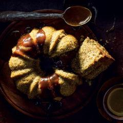 Spiced coffee chai bundt cake with coffee-toffee sauce