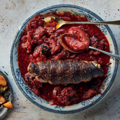 Braciole (rolled beef) with roasted pomodoro sauce and gremolata roast potatoes