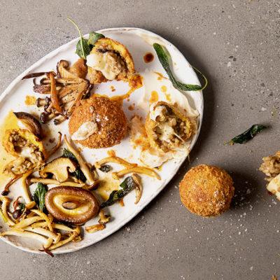 Mushroom arancini balls