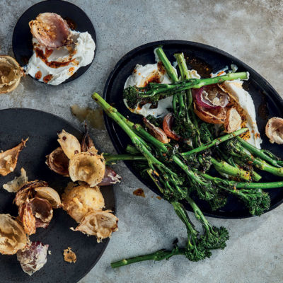 Ricotta with charred Tenderstem broccoli and crispy fried onions