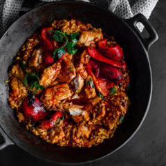 Watch: angelfish paella with smokey red peppers