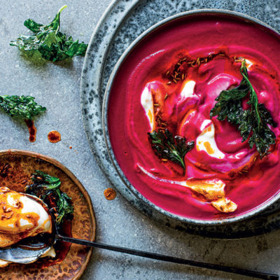 Hot pink beetroot soup with spiced yoghurt