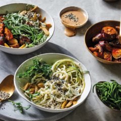 Spinach-and-cauliflower noodles with macadamia yoghurt-and-green olive sauce and caponata-style brinjals