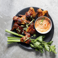 Abi's ultimate sticky-spicy chicken wings with sour cream-and-sriracha dip