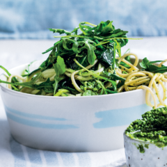 Greens and pasta with pecorino, olive and baby spinach pesto