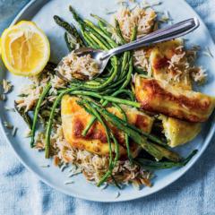 Roast asparagus and halloumi on Turkish rice pilau