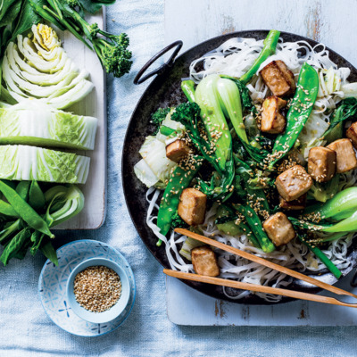 Stir-fried greens, baked tofu and sesame