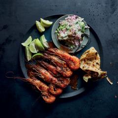 Tandoori prawn skewers with radish-and-cucumber salsa