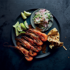 Tandoori prawn skewers with radish-and-cucumber salsa