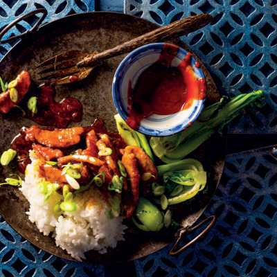 Asian-style sticky pork with Jasmine rice