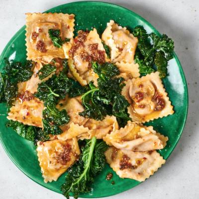 Beef ravioli with chilli, kale and anchovy