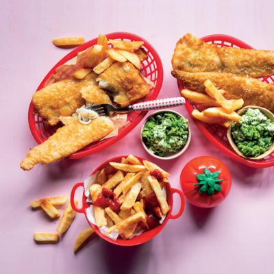 Crispy tempura hake with twice-fried home-made chips