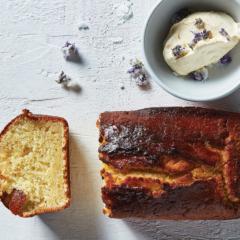 Lemon-and-lavender sponge with lemongrass-raspberry custard