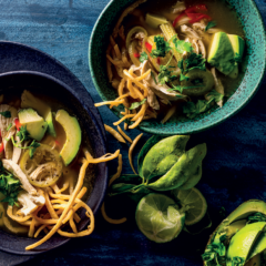 Mexican chicken tortilla soup with lime and avocado