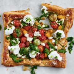 Exotic tomato and ricotta open puff tart