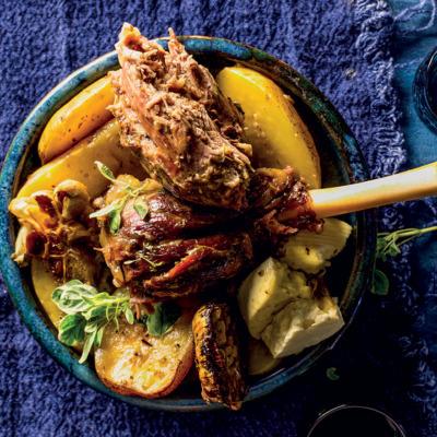 Slow roasted Greek-style lamb