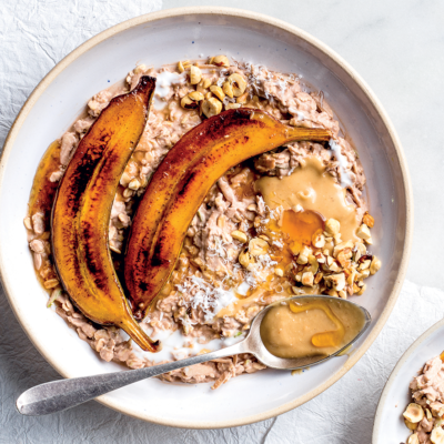 Swiss Bircher muesli with caramel bananas