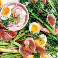 Charred broccoli and asparagus with prosciutto, tartare sauce and boiled eggs