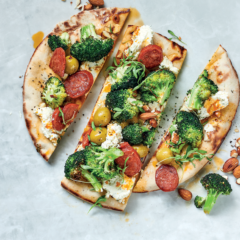 Mediterranean flatbreads with grilled broccoli, olives and chorizo