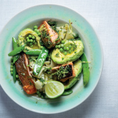 Pappardelle with salmon and lemony pea-and-dill dressing