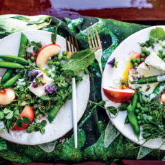 Summer white peach salad with smoky buttermilk dressing