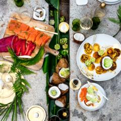 Potato blinis with salmon gravadlax two ways