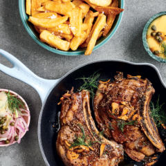 Thick-cut sirloin steaks with Hollandaise, fennel, red onion and capers