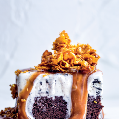 Brownie ice-cream bars with cornflake crisp and hot toffee sauce