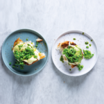 ciabatta toast with peas and avo