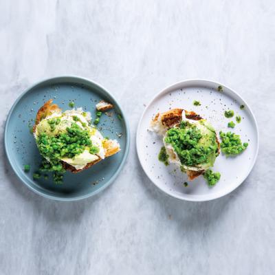 Ciabatta toast with peas and avo