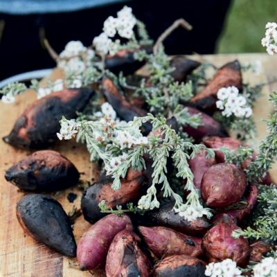 Coal-roasted sweet potatoes