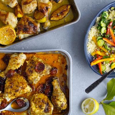 Easy chicken tray bake – 2 ways