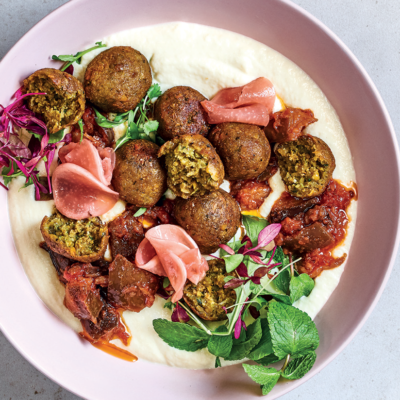 Falafel with cauli mash, pickle and caponata