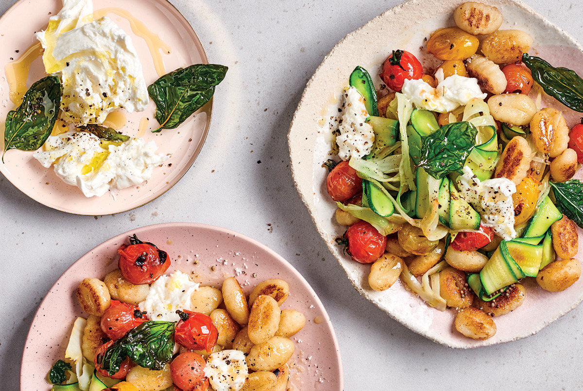 Gnocchi With Baby Marrow Balsamic Caramelised Cherry Tomatoes And Buffalo Mozzarella Woolworths Taste