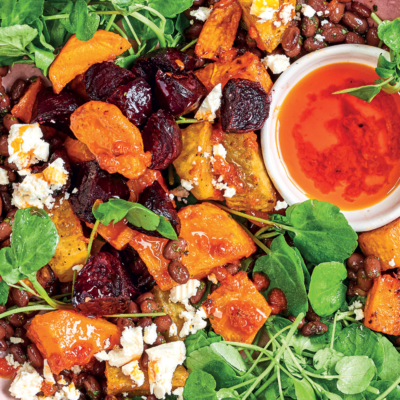 Harissa ruby vegetables with feta and black-bean salad