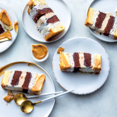 Layered ice-cream cake with peppermint caramel