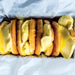 Lemon curd doughnut sandwiches