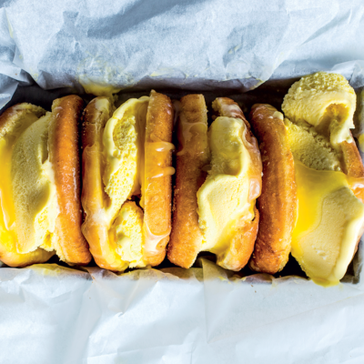 Lemon curd doughnut sandwiches