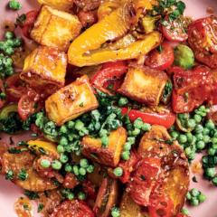 New panzanella with halloumi, exotic tomatoes, crushed peas and chunky garlic ciabatta
