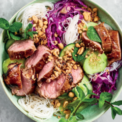 Peanut-and-mint rice noodles with sticky pork fillet