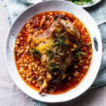 Roast lamb with haricot beans
