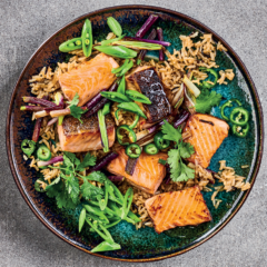 Seared trout with ginger rice and jalapeno-lime dressing