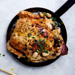 Buttermilk chicken with roast white beans and olives