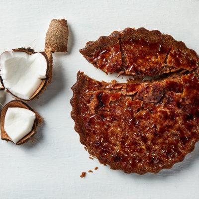 Coconut brittle tart