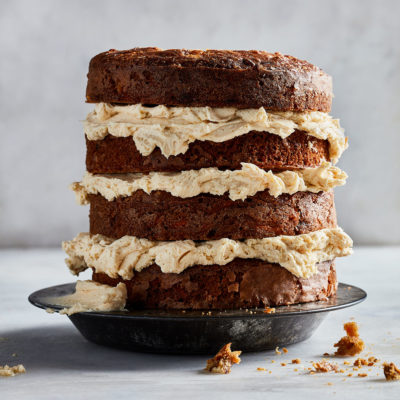 Reduced sugar pineapple-and-carrot cake with burnt butter frosting