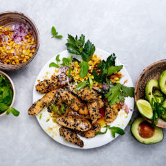 Sesame chicken strips with corn and avo