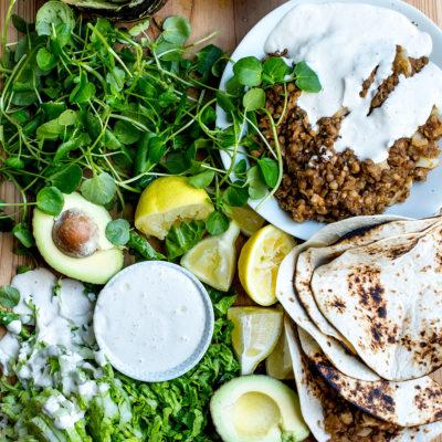 Vegan cauliflower-and-lentil tacos