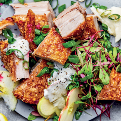 Crunchy pork belly-and-apple salad with ranch dressing