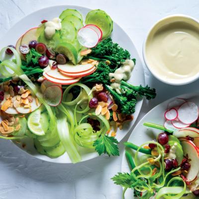 Crunchy broccoli salad with creamy tahini dressing