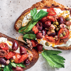 No-cook Puttanesca-and-ricotta toast